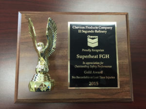The Chevron Outstanding Safety Performance Gold Award Presented to Superheat FGH