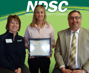 Susan Murphy accepting the NDSC Occupational Safety Merit Award