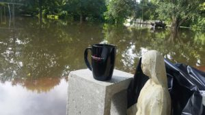 Even during a flood there's nothing like a morning cup of coffee.